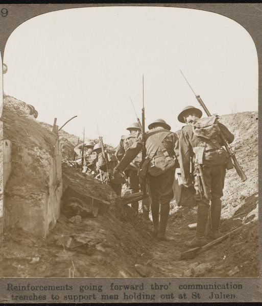 British reinforcements going forward through communication trenches to support men holding out at St Julien Date: 1917