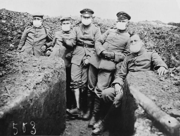 Men of the 4th Company, 27th Regiment wearing the first gas masks during World War I