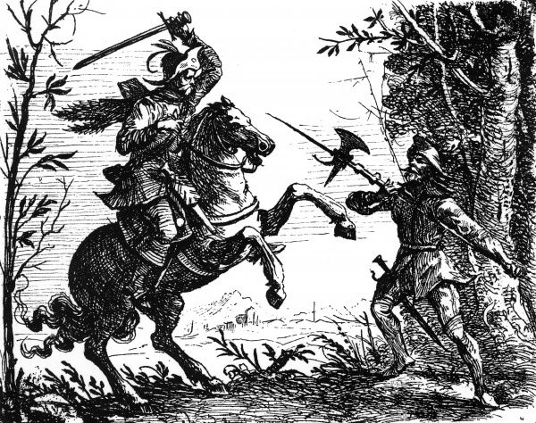 Soldiers turned bandits draw their swords, during the Thirty Years War