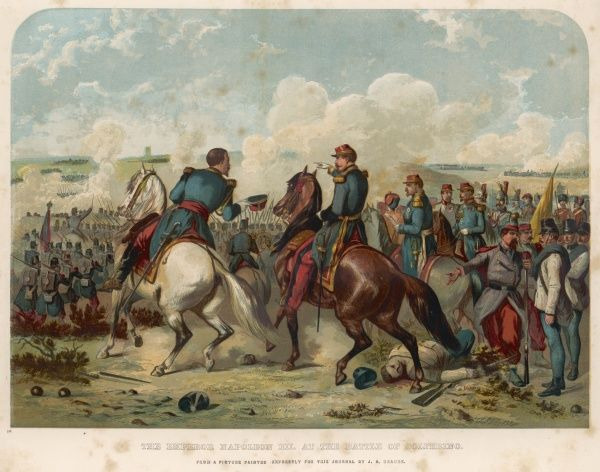 BATTLE OF SOLFERINO Napoleon III on the field of battle, which resulted in a defeat for the Austrians, marking the beginning of Italian independence