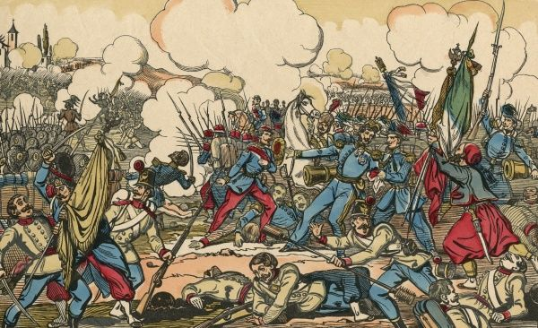 BATTLE OF SOLFERINO The French, under Napoleon III and Vittorio Emanuele, defeat the Austrians under Franz Josef, leading to Austrian withdrawal and a united Italy Date: 24 June 1859