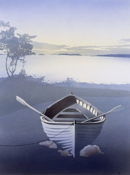 Solitude. An empty rowing boat with oars resting across the sides, rests propped up on some small rocks close to a large lake, glowing in the evening light. An airbrush painting by Malcolm Greensmith