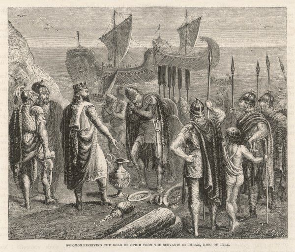 Solomon receives gold from Ophir, sent by Hiram, king of Tyre, to help in the construction of his temple