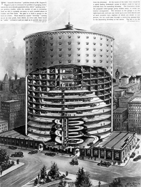 Illustration of a cross section of a proposed multi storey garage/ car park, designed by Eugene G. Higgins. It was designed in the style of a tower and could hold seven hundred cars, in 'crowded places such as New York and London&#39