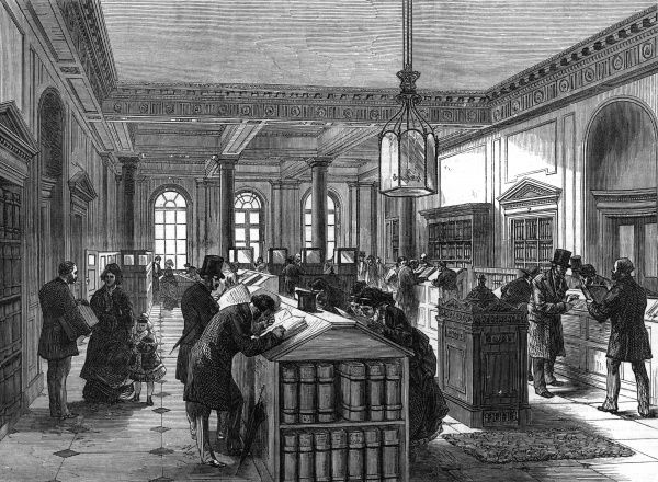 The Registry of Wills office at Somerset House, London, to which it had moved in 1874 Date: 1875