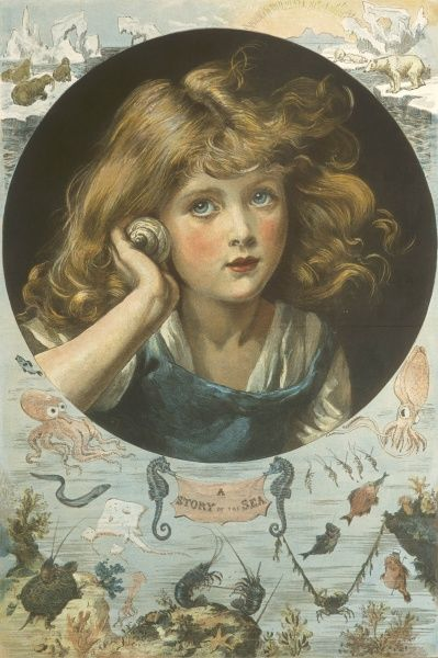 A young girl listens to the sounds of the sea through a seashell, while a decorative border emphasises the theme