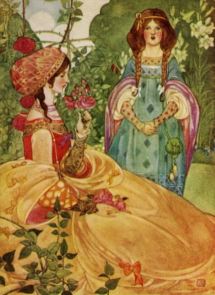 The Sonnet -- a grand lady sits in a garden, her lady-in-waiting standing close by