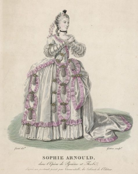 SOPHIE MADELEINE ARNOULD leading French singer, depicted in the opera of Pyrame et Thisbe