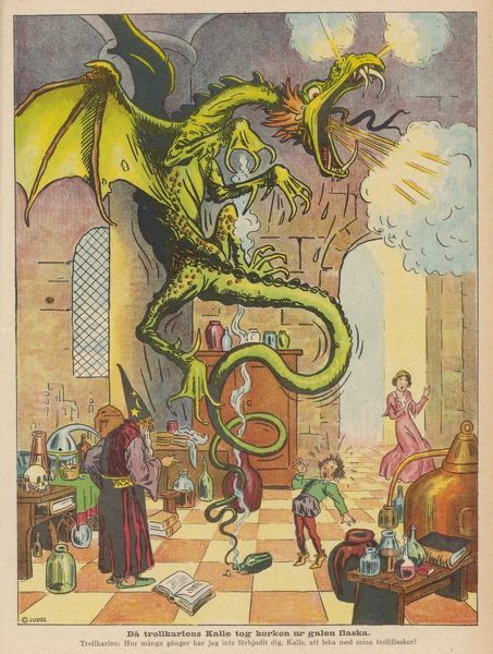 The Sorcerer's Apprentice accidentally lets the dragon out of the bottle where the Sorcerer has managed to incarcerate it !