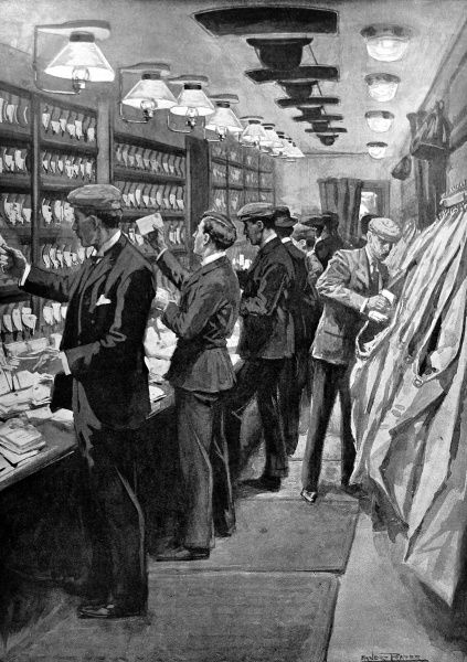 Illustration by Ernest Prater showing male postal workers aboard a London and North-Western train sorting mail