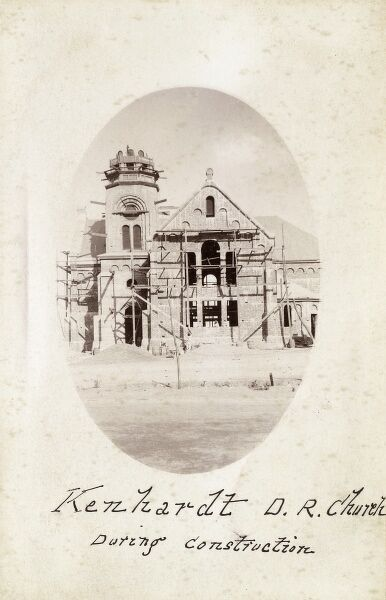 Construction of Kenhardt Dutch Reformed Mission Church, South Africa. Built in 1889, although this card is of a later date (could be a re-use of a much earlier photograph). Date: circa 1910