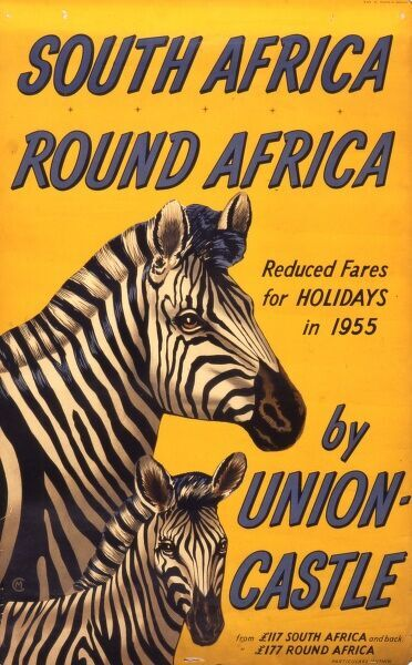 Poster advertising travel to South Africa or round Africa on the Union-Castle shipping line, which operated passenger and mail ships between Europe and Africa from 1900 to 1977