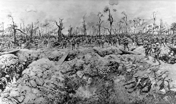 An illustration of South African soldiers, assisted by some Highlanders seen in the foreground, marching through Delville Wood, France