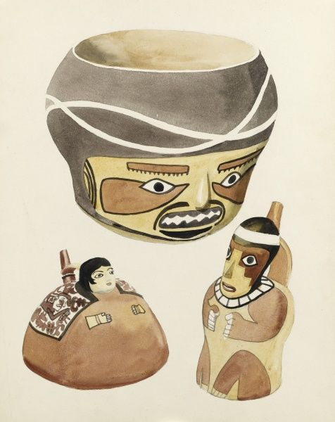Items of material culture from South America. Distinctive ceramic bowls and drinking vessels, sporting fierce mask faces and anthropomorphic forms. Watercolour painting by Raymond Sheppard