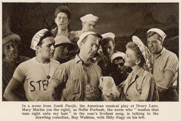 A scene from South Pacific, the American musical, at Drury Lane Theatre in 1952. Mary Martin (right) played Nellie Forbush, and is talking to the comedian Ray Walston, with Billy Nagy on his left. Date: 1952