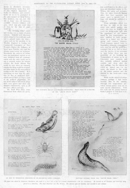 Page from the Illustrated London News showing pages from the South Polar Times, the furthest south illustrated newspaper edited by Lieutenant Ernest Shackleton, who made it a strict rule to hold no personal communication with his contributors