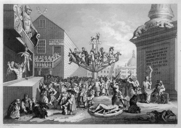 The South Sea Bubble. A satirical image showing a goat sitting atop the human wheel of fortune with a sign saying 'Who'l I Ride' just below. There is a winged devil with a scythe on the left, throwing chunks of Fortune's body to a greedy crowd