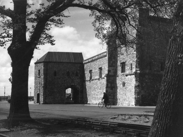 The Tower which formed the south eastern defence of the city of Southampton, England, before the larger (right) tower was built. Date: 13th century