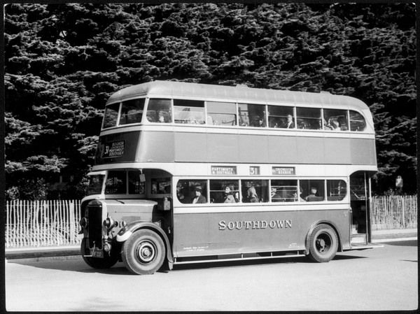 A 'modern' omnibus, one of the Southdown fleet, a No 31 bus, destination Portsmouth and Southsea via Chichester and Bognor Regis, south coast of England