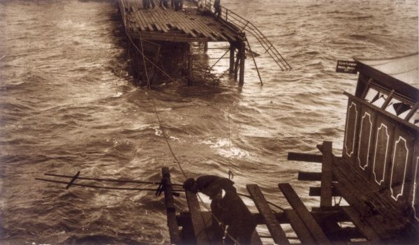 The mile-long pier at Southend-on-sea is severely damaged by heavy seas