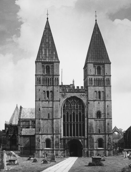 Southwell Cathedral in Nottinghamshire, built about 1100 upon the site of a much earlier church. The cathedral possesses some of the finest Norman architecture in England