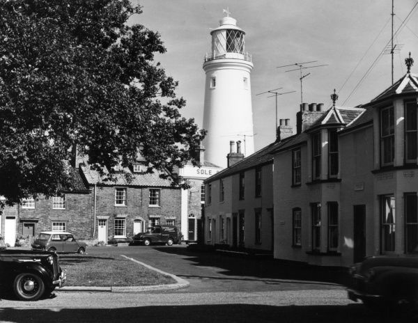 Southwold Lighthouse, Suffolk, England, was erected by Trinity House in 1889. It is 30.8 metres high and its 1500 watt light can be seen for 18 nautical miles. Date: 1889