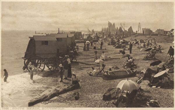 A lovely view of Southwold, Suffolk - the beach with bathing machines Date: circa 1908