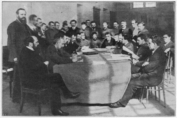 Soviet committees are set up everywhere to ensure that the new regime is correctly administered : the Petrograd Executive Committee in session