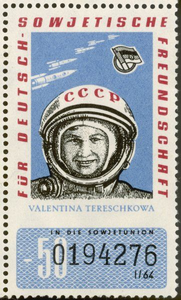 Russian cosmonaut VALENTINA TERESCHKOWA (born 1937) is the first woman in space, aboard Vostok 6