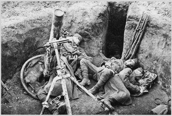 A Soviet Mortar Crew rest after all-night fighting