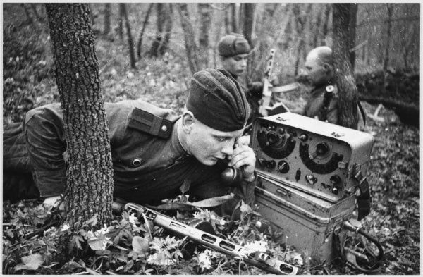 Soviet shortwave radio operator communicating with forces behind the enemy lines