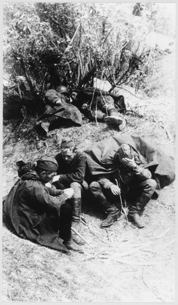 Soviet soldiers take a short rest
