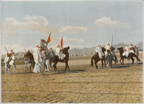 Spahis (native cavalry) of the French Armee d'Afrique perform a 'fantasia&#39