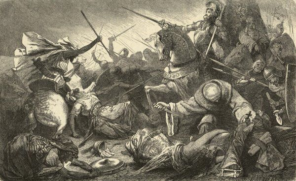 Alfonso of Castile, with the Kings of Aragon and Navarre, defeats the Moors at Tolosa