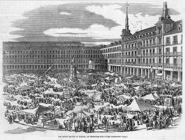 Stalls and sightseers on Christmas Eve. Date: 1854
