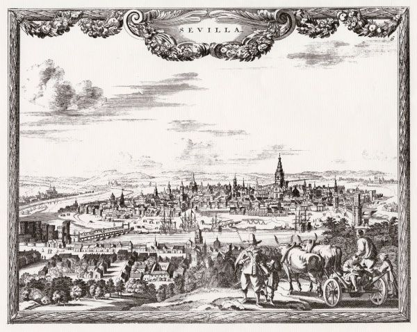 Seville: general view, with people and oxen in the foreground