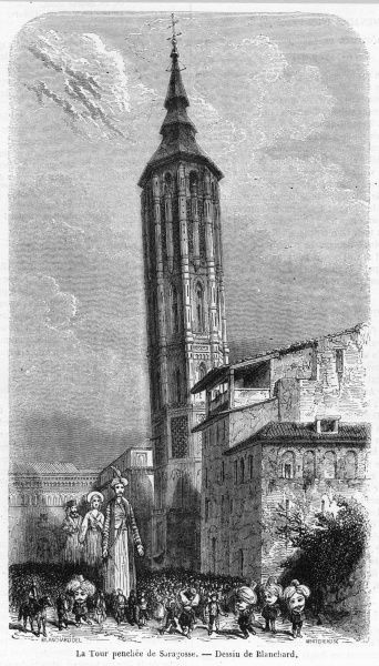 (aka Saragossa) The famous Leaning Tower. (We have other engravings showing it leaning at other angles, if this one doesn't suit you ; but this is probably the most accurate)