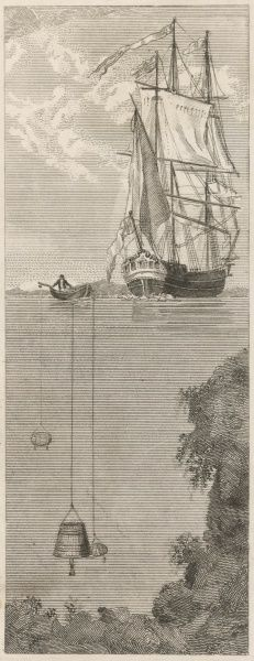 Spalding's bell is lowered from a boat