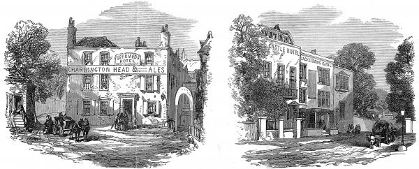 Engraving showing two of the older taverns of Hampstead; the Spaniard's Hotel (on left) and Jack Straw's Castle Hotel