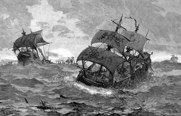 Engraving of several Spanish galleons, in heavy seas, trying to head for home. Once the Armada had been driven away from English shores, the Spanish ships faced a long journey home round Scotland and Ireland through stormy weather