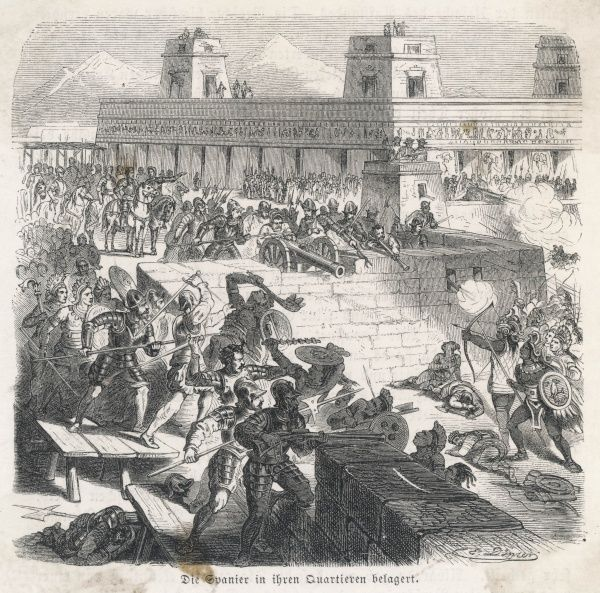 The Spanish are besieged by the Aztecs in the headquarters they have occupied in Tenochtitlan