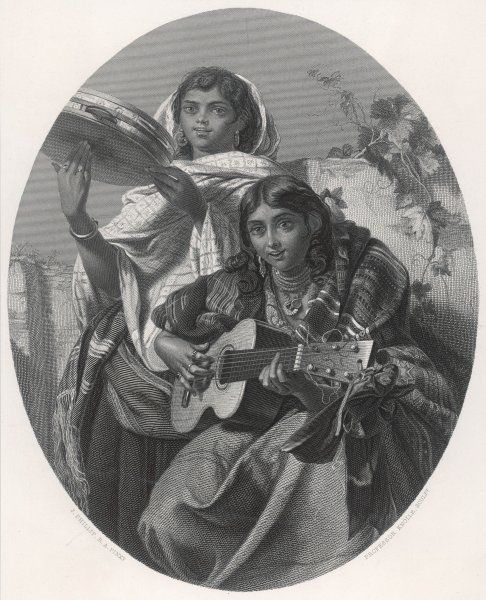 Two gipsy girls play guitar and tambourine