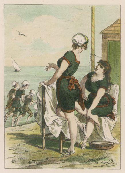 Two Spanish girls prepare to go bathing, while others jog along the water's edge