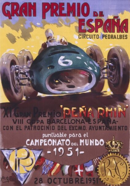Poster for the Spanish Grand Prix of the 28th October 1951, held at the Pedralbes Circuit near Barcelona, Catalonia. The race was won by the legendary Juan Manual Fangio in an Alfa Romeo