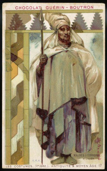 A Moorish soldier of medieval Spain in white robe and turban, carrying a spear