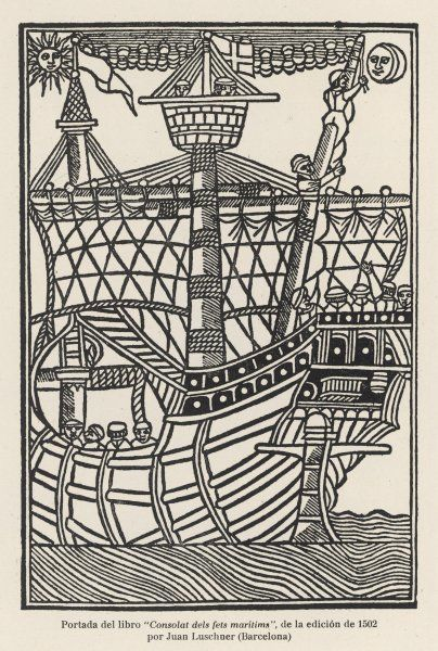 A Spanish sailing vessel of Columbus's time, depicted on the cover of Juan Luschner's 'Consolat dela fets maritima&#39