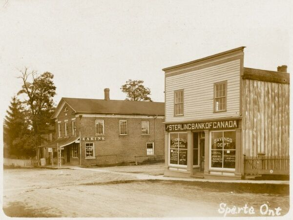 The Sterling Bank of Canada and Eakins General Store at Sparta, Ontario
