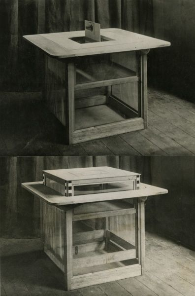 Undated double photograph on one card of special fraud-proof double cage sance table for testing telekinesis, showing inner cage raised and trap door open, and inner cage raised and trap door closed. HPG/1/12/14 (xi)