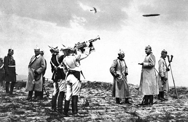 Spectacular effects which the Kaiser has discarded in the field: The German Emperor (In the centre) as 'Over War Lord.' Date: 1914