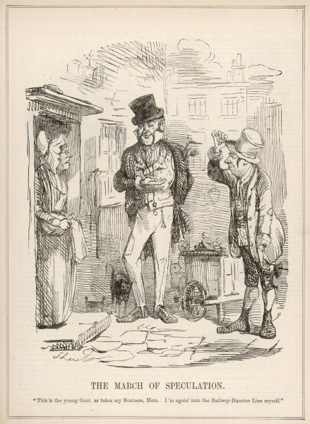 The Railway Mania sets off a wave of speculation throughout Britain : disreputable people from the streets set themselves up as financial prospectors